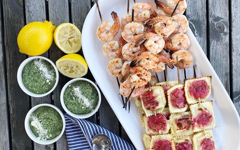 Shrimp Skewers & Beet Ravioli Skewers