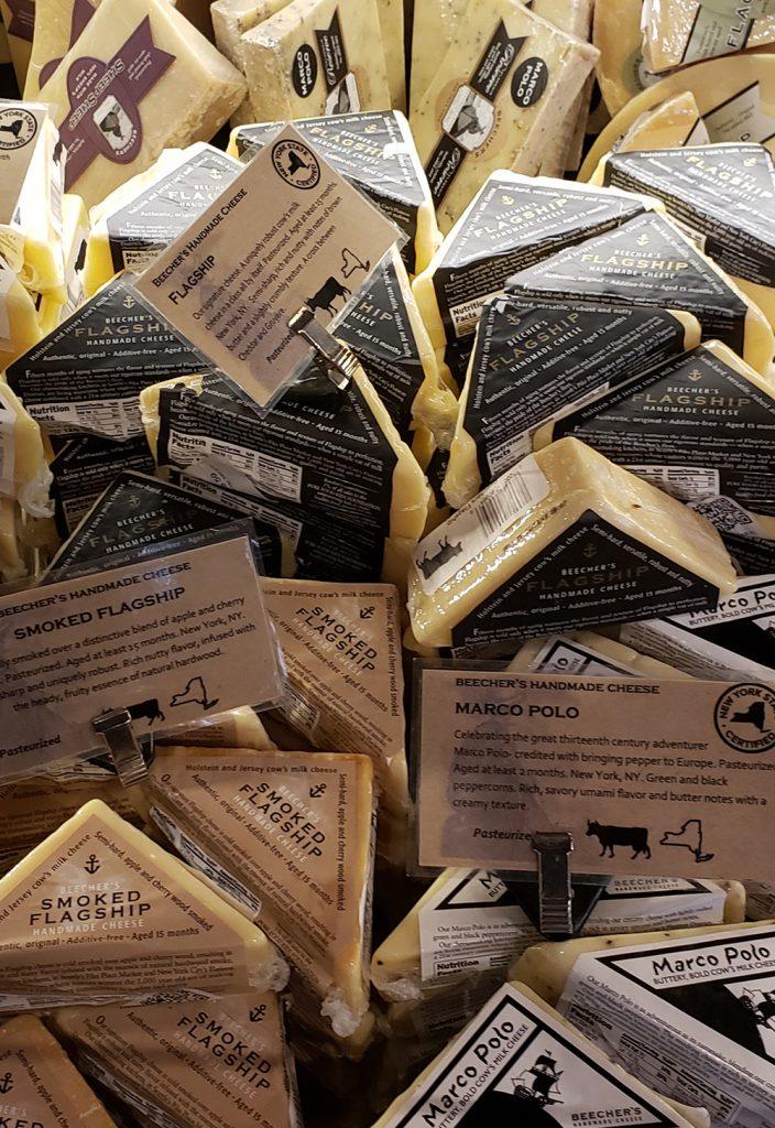 Beecher's Handmade Cheese case in their New York City cheese shop