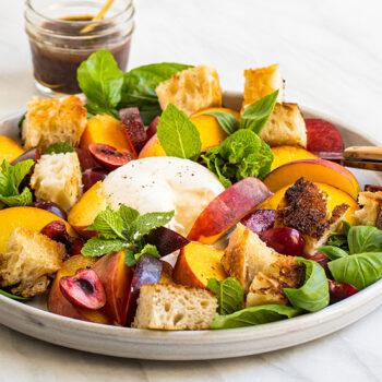 Stone fruit caprese salad
