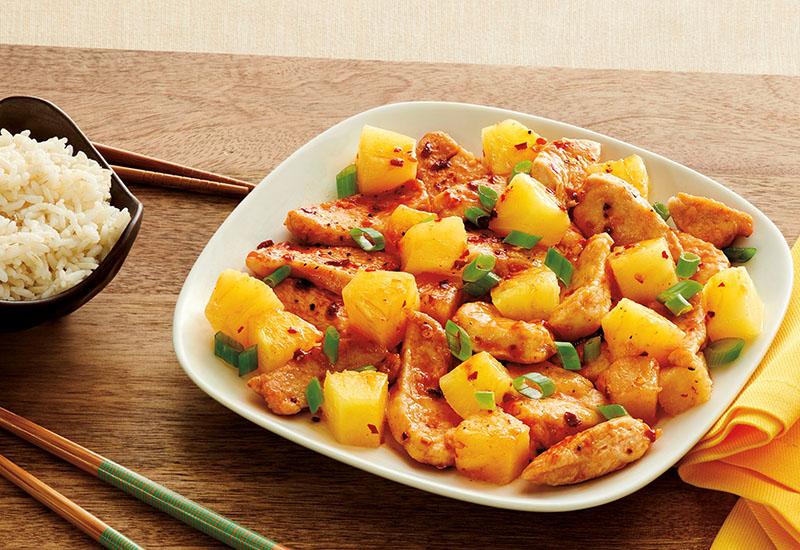 Firecracker Pineapple Chicken on a Plate