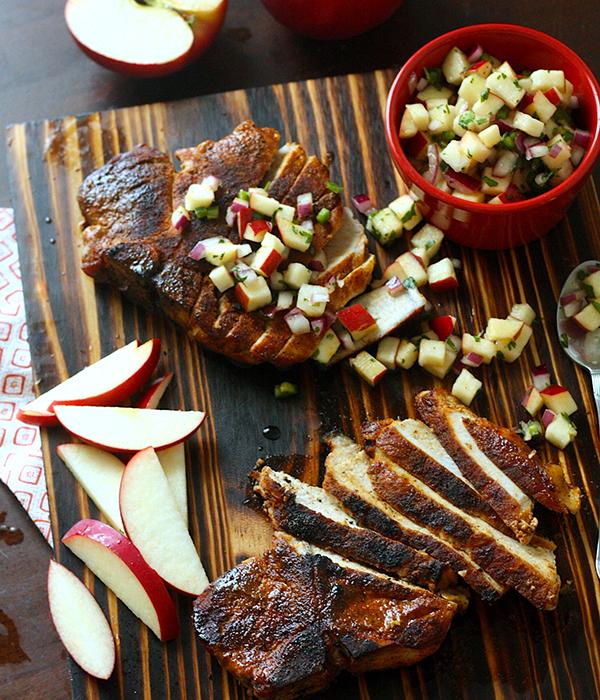 Blackened Pork Chops Rave Apple Salsa