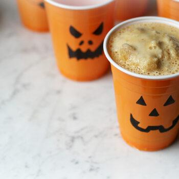 Halloween Smoothie in Orange Pumpkin Cups