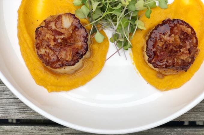 Pan-Seared Scallops on a Sweet Potato Purree
