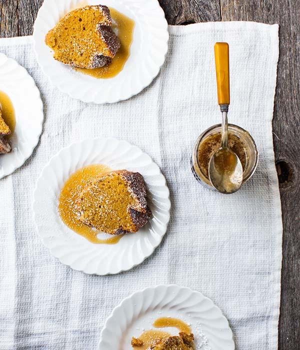 Butternut Squash Brown Butter Bundt Cake with Bourbon Caramel Sauce
