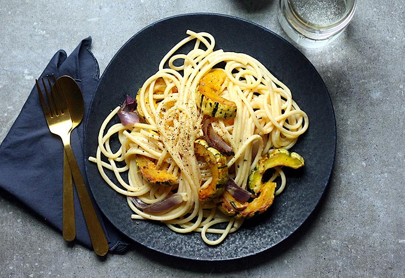Delicata Squash Pasta on a Plate