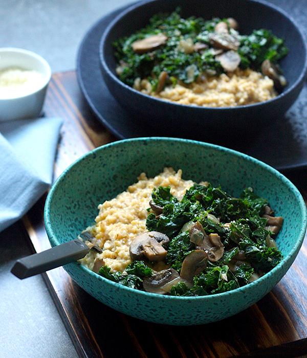 Steel Cut Oat Risotto Mushrooms Kale