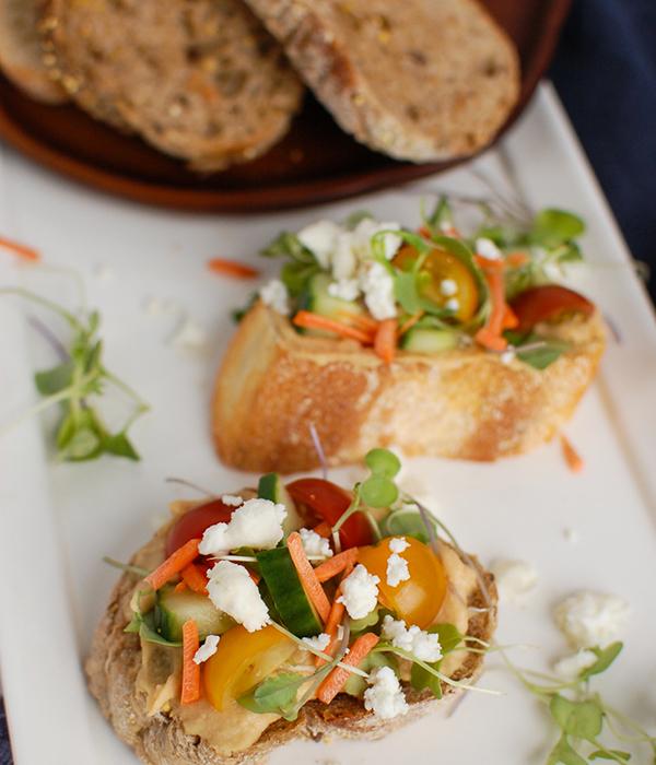 Mediterranean Crostini using Pain Paillasse Bread