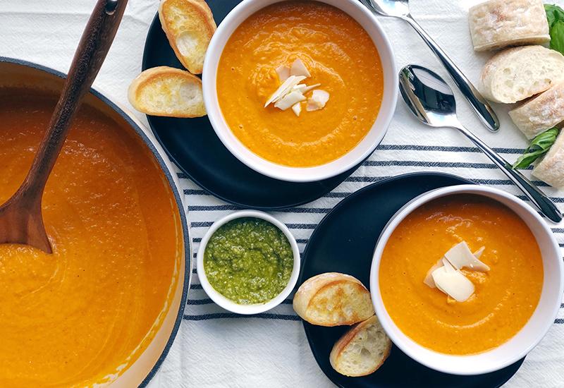 Tomato Basil Soup in White Bowls