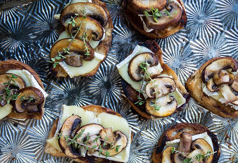 Brie Mushroom Crostini