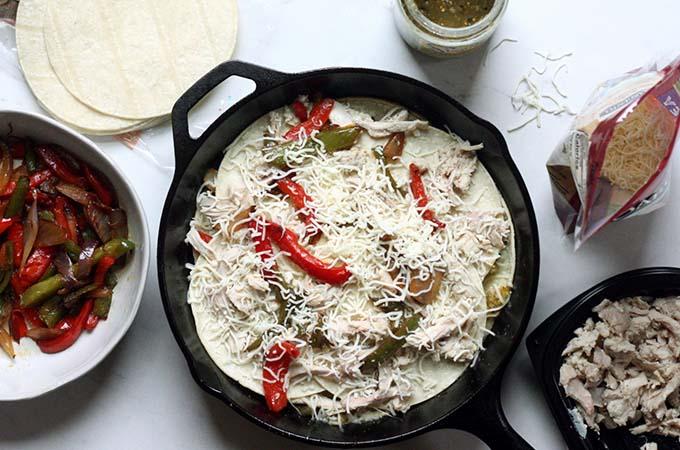 Green Chicken Enchilada Casserole Prep