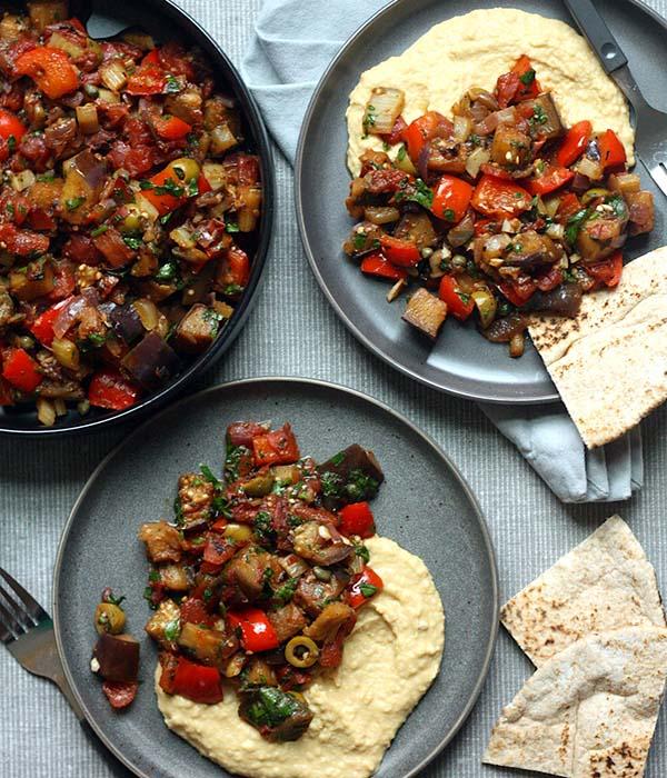 Eggplant Caponata with Roasted Garlic Hummus