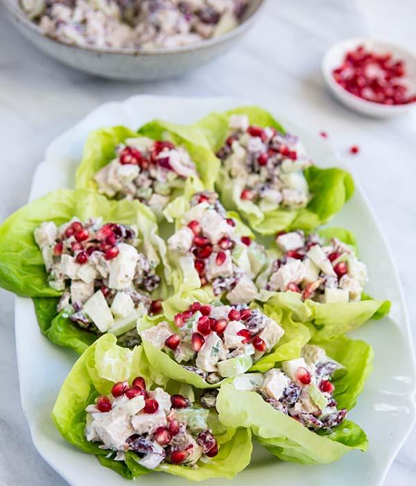 Thanksgiving Turkey Lettuce Wraps on Platter