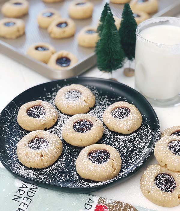 Pecan Raspberry Thumbprint Cookies