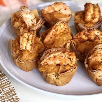 Cajun Shrimp Cups on a Plate