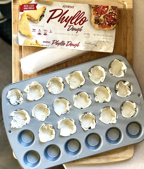 Phyllo dough in a mini muffin pan, box of phyllo dough
