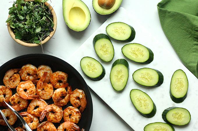 Blackened Shrimp and Cucumber Bites Ingredients