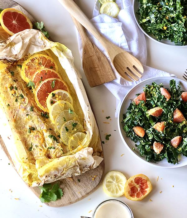 Moroccan Citrus Salmon with Kale Salad