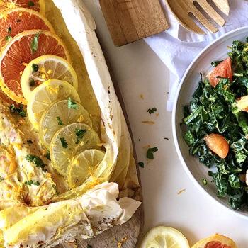 Citrus salmon with kale salad