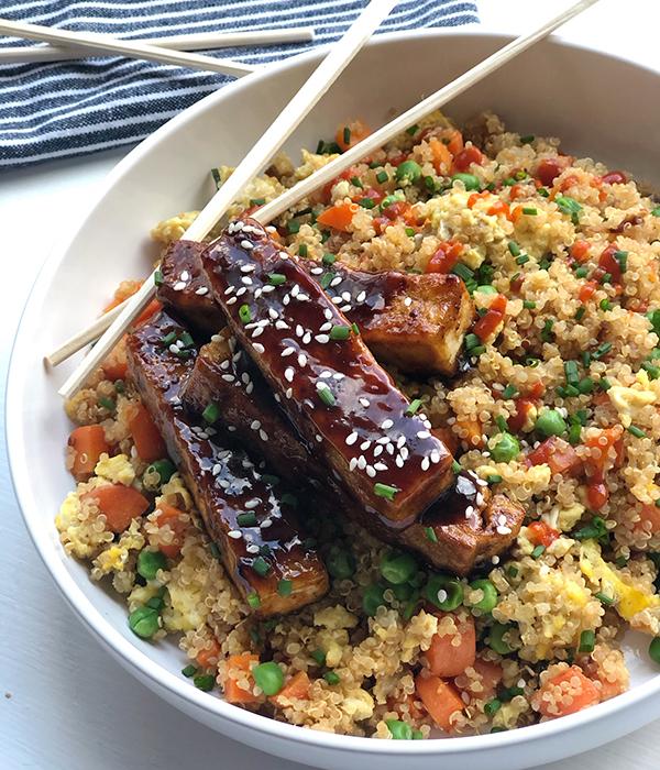 General Tso's Tofu & Quinoa Fried Rice