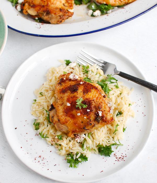 Mediterranean Chicken with Lemon Parsley Orzo