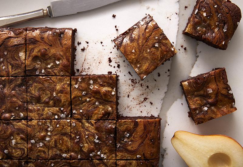 Pear tahini brownies sliced into squares