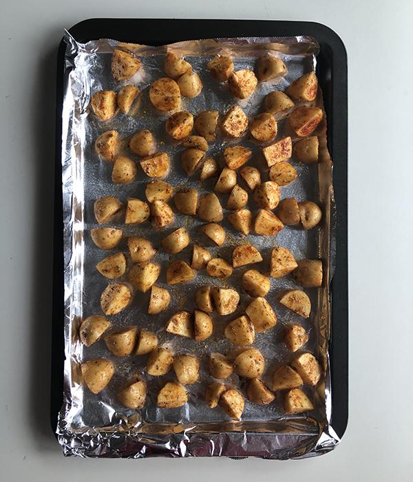 Potatoes on sheet pan