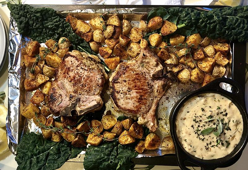 Stuffed pork chops on pan