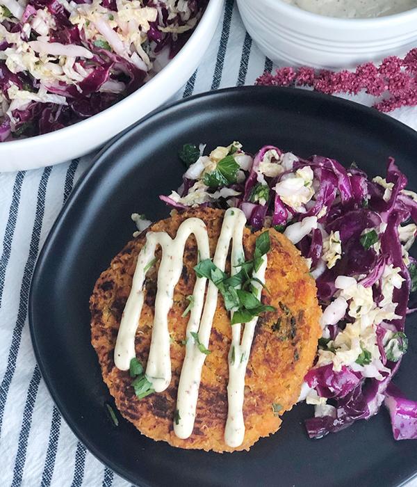 Sweet Potato Quinoa Burger with Napa Cabbage Slaw and Dijon Aioli