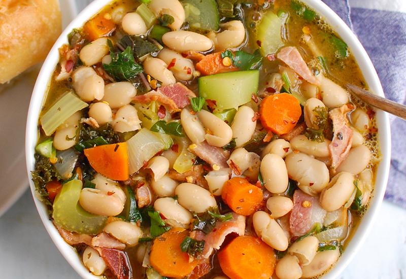 Tuscan bean soup in bowl