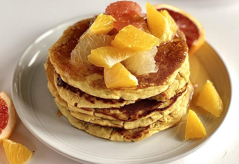 Blood orange mimosa pancakes on plate