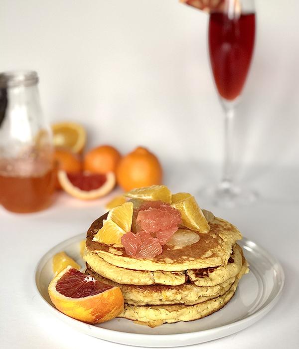 Blood Orange Mimosa Pancakes with Mimosa