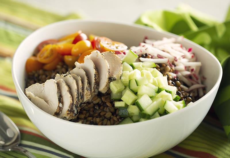 Ancient grains chicken and veggie bowl