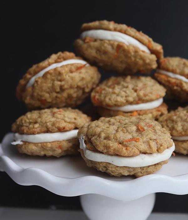 Carrot Cake Sandwich Cookies on Platter