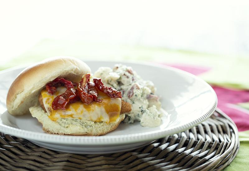 Crispy chicken sandwich with potato salad