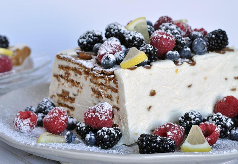 Lemon ginger ice box cake with berries