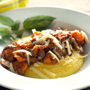 Polenta with veggie ragu