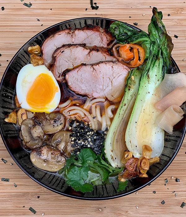 Pork tenderloin ramen bowl
