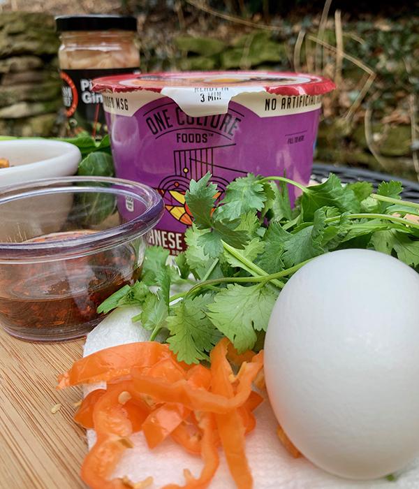 Ingredients to make pork tenderloin ramen bowl