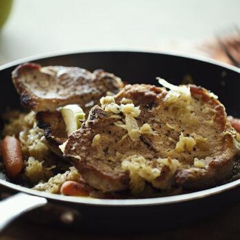 Pork and sauerkraut in a pan