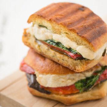 Vegan mozzarella panini sandwich