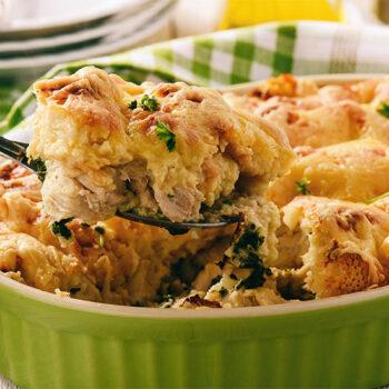 Chicken strata in dish