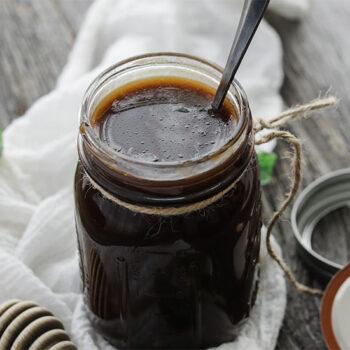 Homemade vinaigrette in jar