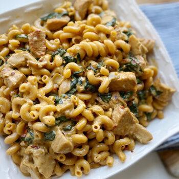 Spinach artichoke and chicken pasta