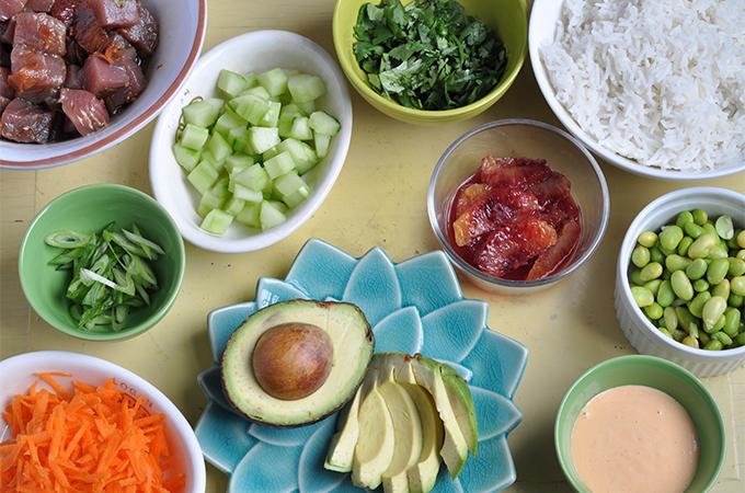 Tuna Poke Bowl Ingredients