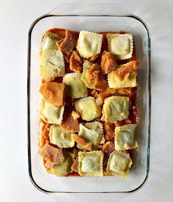 Bottom layer of frozen ravioli lasagna
