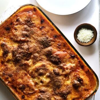 Frozen ravioli lasagna in pan