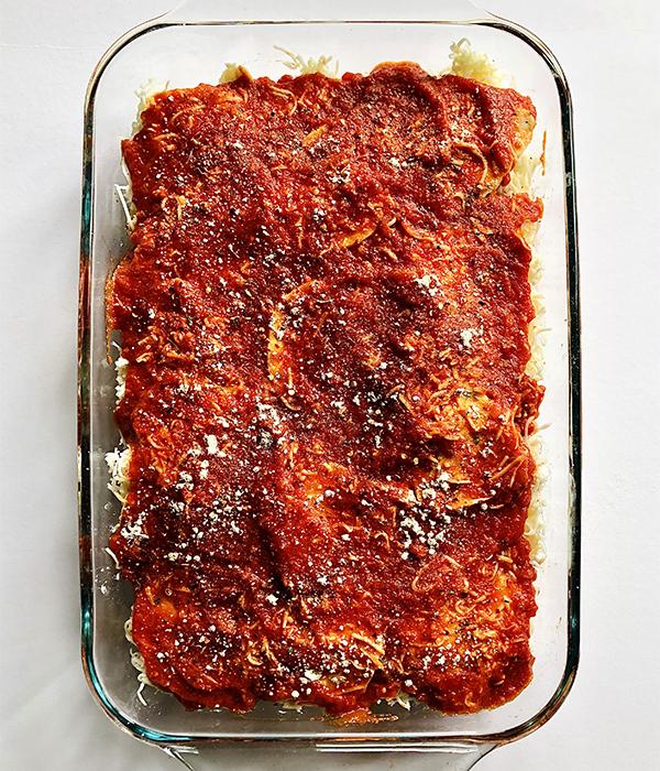 Frozen Ravioli Lasagna in clear pan
