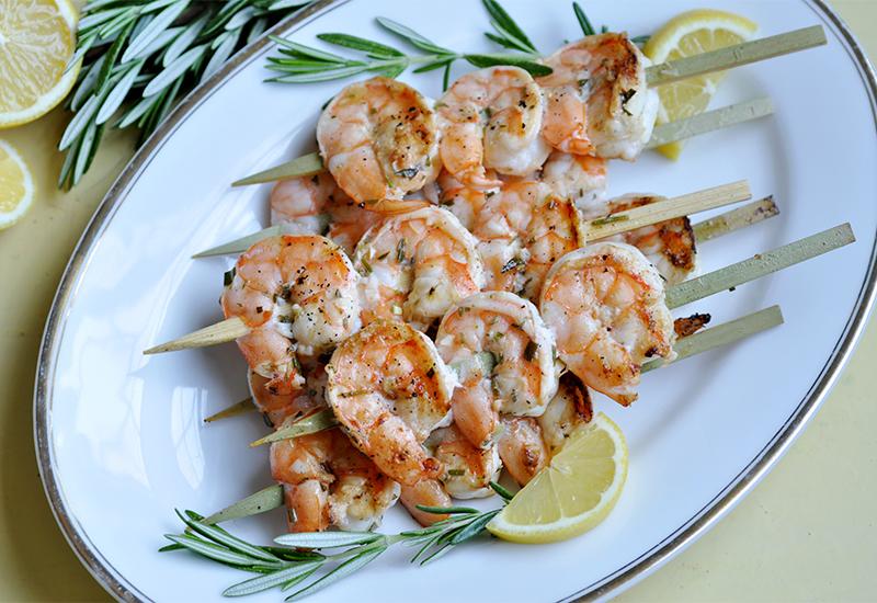 Garlic herb grilled shrimp on skewer