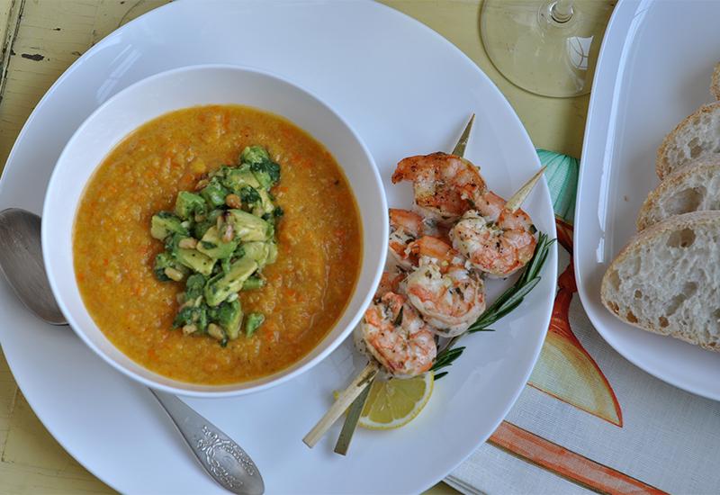 Garlic herb grilled shrimp on skewer with avocado relish