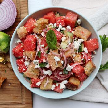 Watermelon panzanella salad